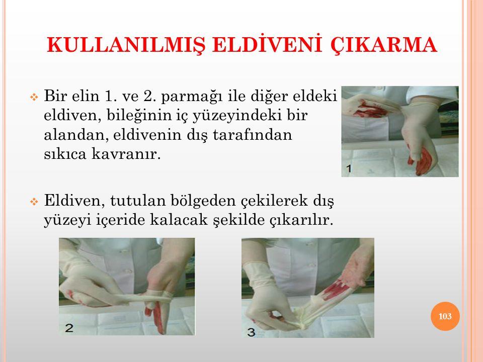 KULLANILMIŞ ELDİVENİ ÇIKARMA  Bir elin 1. ve 2. parmağı ile diğer eldeki eldiven, bileğinin iç yüzeyindeki bir alandan, eldivenin dış tarafından sıkı