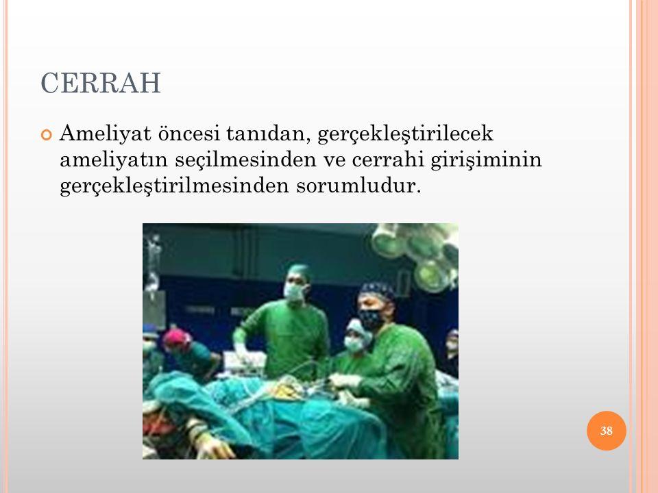 CERRAH Ameliyat öncesi tanıdan, gerçekleştirilecek ameliyatın seçilmesinden ve cerrahi girişiminin gerçekleştirilmesinden sorumludur. 38
