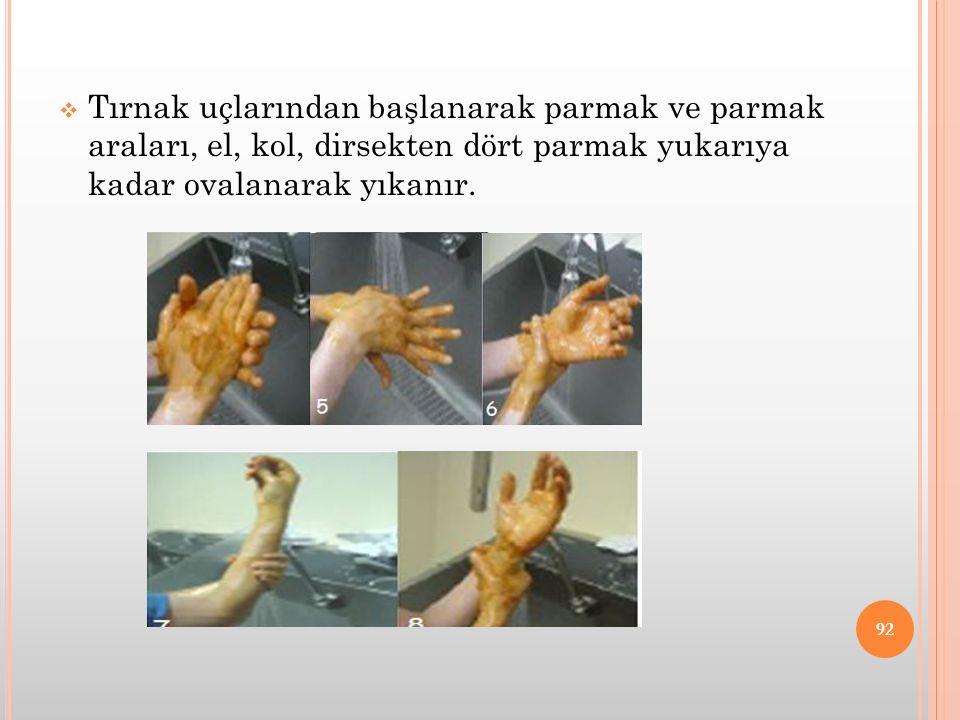  Tırnak uçlarından başlanarak parmak ve parmak araları, el, kol, dirsekten dört parmak yukarıya kadar ovalanarak yıkanır. 92