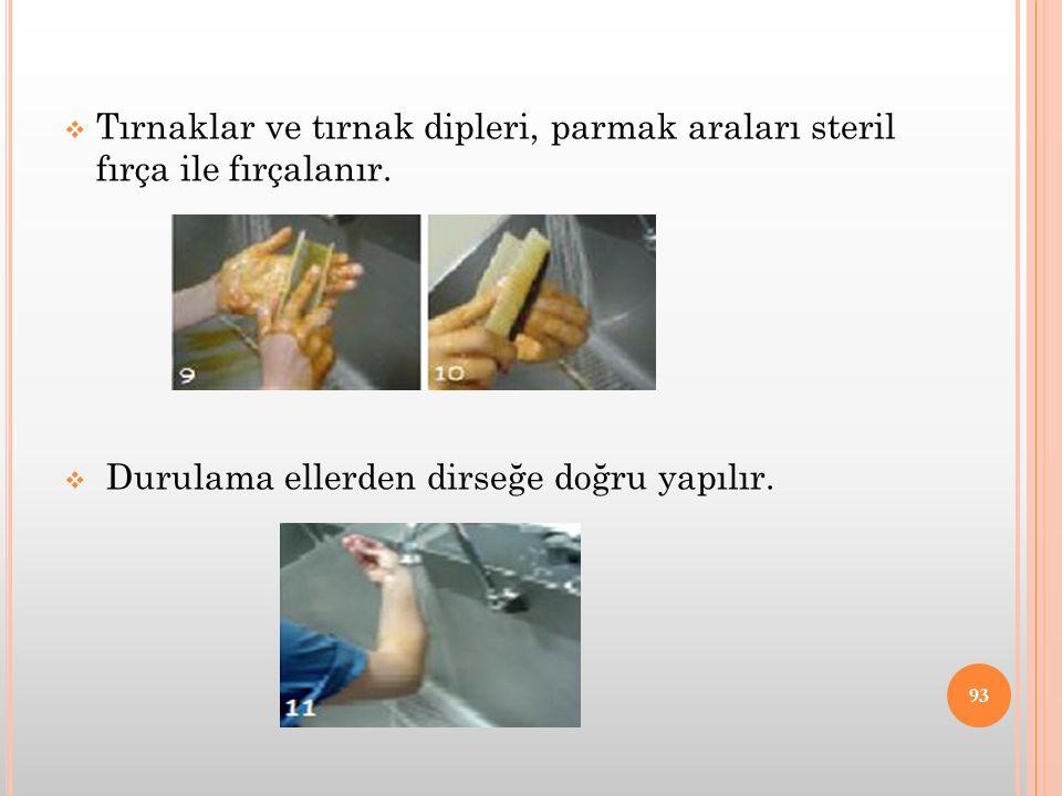  Tırnaklar ve tırnak dipleri, parmak araları steril fırça ile fırçalanır.  Durulama ellerden dirseğe doğru yapılır. 93
