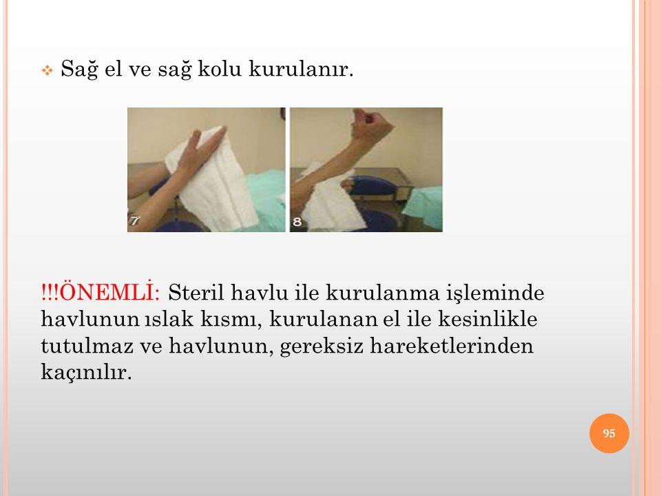  Sağ el ve sağ kolu kurulanır. !!!ÖNEMLİ: Steril havlu ile kurulanma işleminde havlunun ıslak kısmı, kurulanan el ile kesinlikle tutulmaz ve havlunun