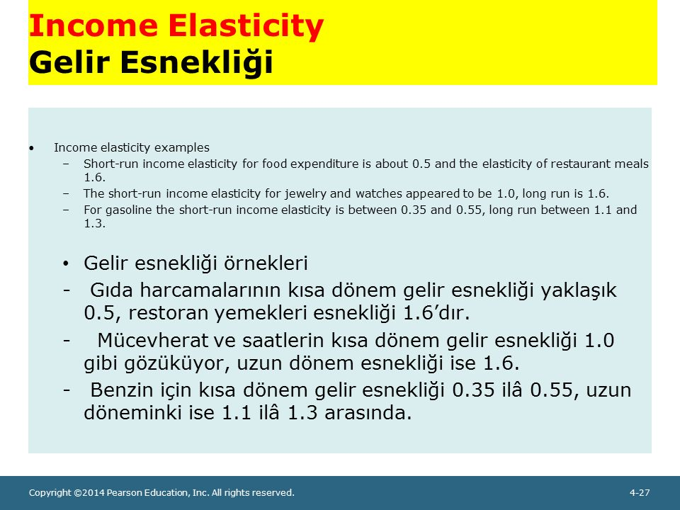 Copyright ©2014 Pearson Education, Inc. All rights reserved.4-27 Income Elasticity Gelir Esnekliği Income elasticity examples –Short-run income elasti