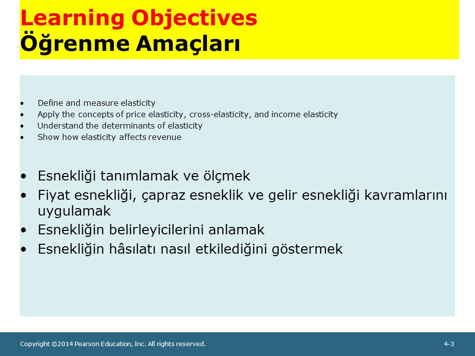 Copyright ©2014 Pearson Education, Inc. All rights reserved.4-3 Learning Objectives Öğrenme Amaçları Define and measure elasticity Apply the concepts