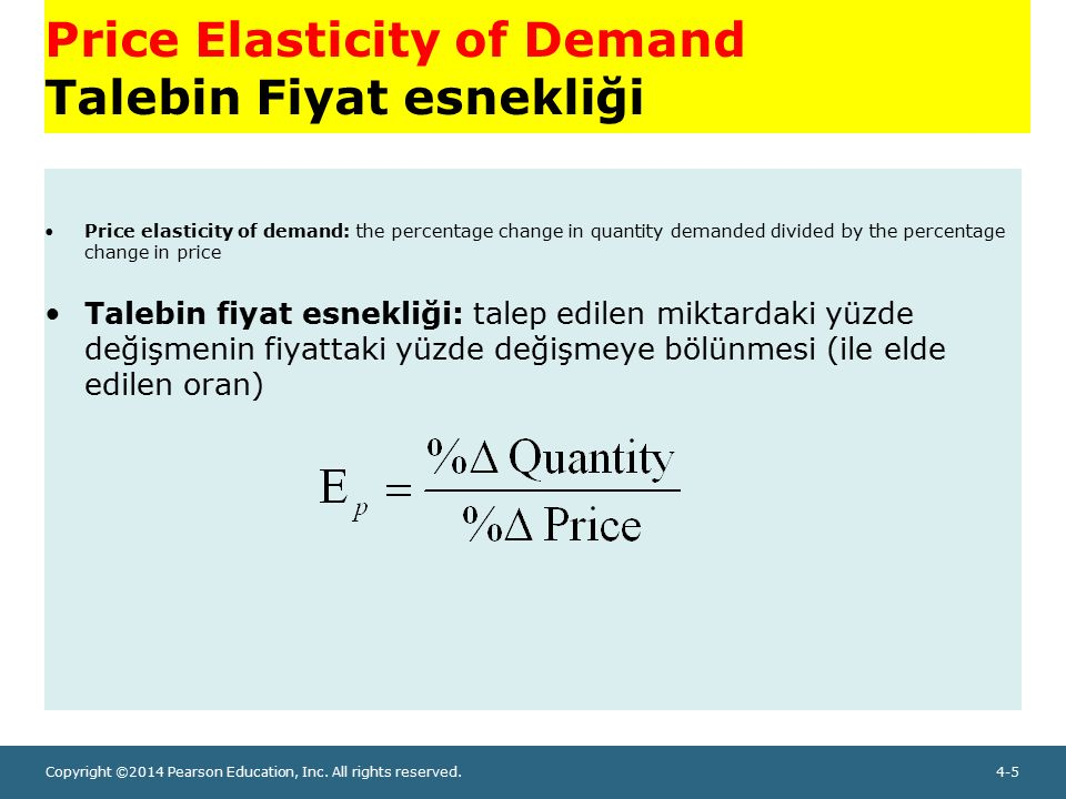 Copyright ©2014 Pearson Education, Inc. All rights reserved.4-5 Price Elasticity of Demand Talebin Fiyat esnekliği Price elasticity of demand: the per
