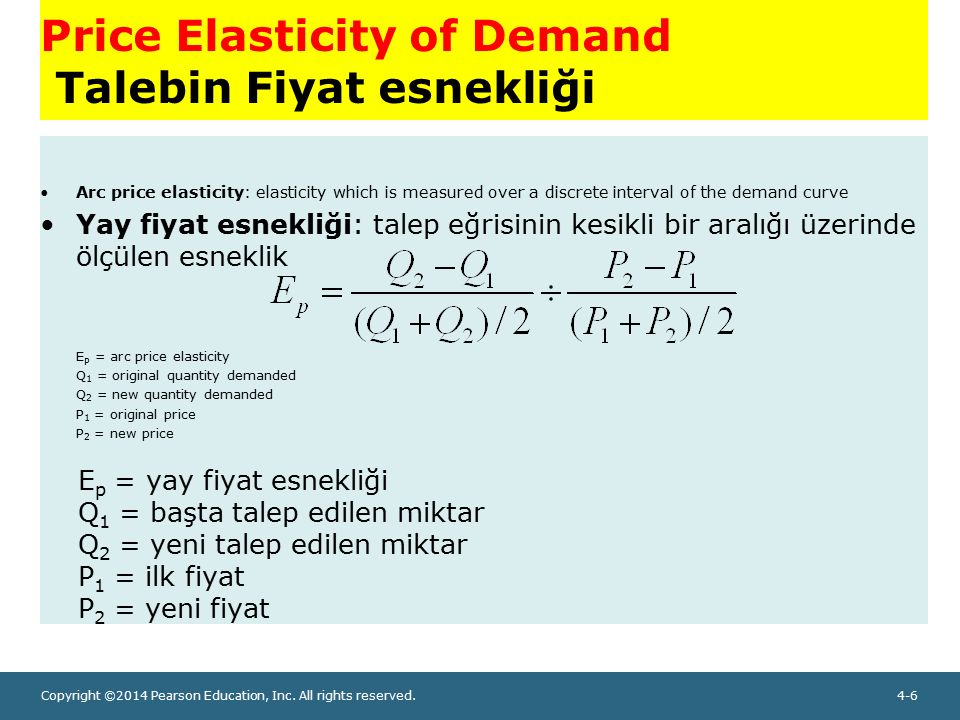 Copyright ©2014 Pearson Education, Inc. All rights reserved.4-6 Price Elasticity of Demand Talebin Fiyat esnekliği Arc price elasticity: elasticity wh