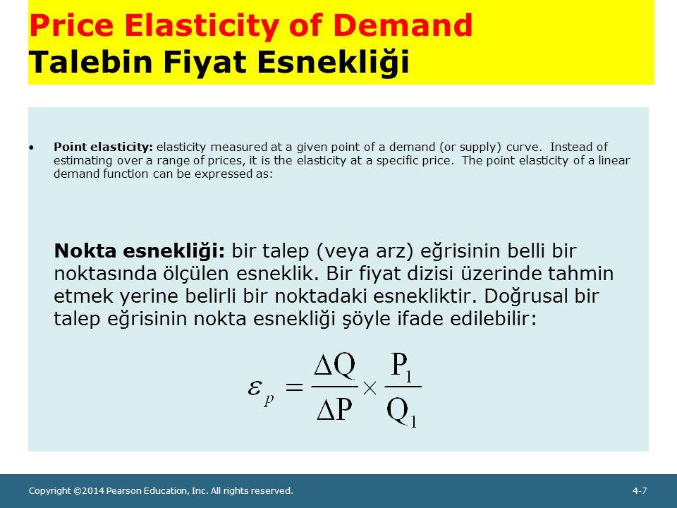 Copyright ©2014 Pearson Education, Inc. All rights reserved.4-7 Price Elasticity of Demand Talebin Fiyat Esnekliği Point elasticity: elasticity measur
