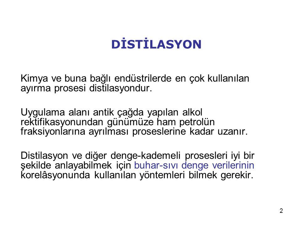 3 Distilasyon Kolonlarının Tasarımı Bir distilasyon kolonunun tasarımında genellikle aşağıdaki adımlar izlenir.