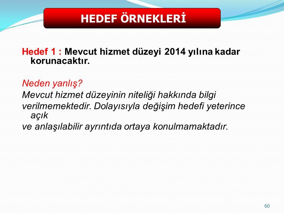 Hedef 1 : Mevcut hizmet düzeyi 2014 yılına kadar korunacaktır.