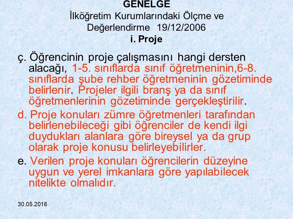30.05.2016 GENELGE İlköğretim Kurumlarındaki Ölçme ve Değerlendirme 19/12/2006 Bu ölçme araç ve yöntemlerinden; i.