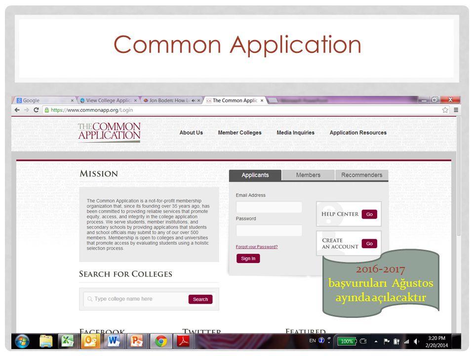 Common Application 2016-2017 başvuruları Ağustos ayında açılacaktır