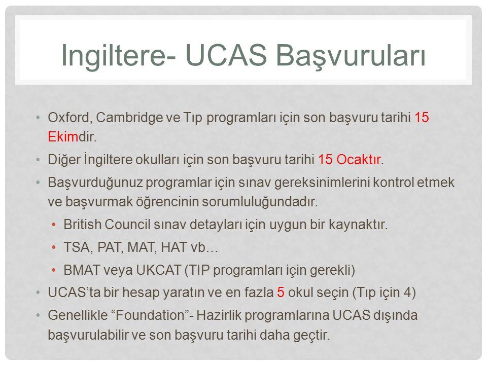 Ingiltere- UCAS Başvuruları Oxford, Cambridge ve Tıp programları için son başvuru tarihi 15 Ekimdir. Diğer İngiltere okulları için son başvuru tarihi