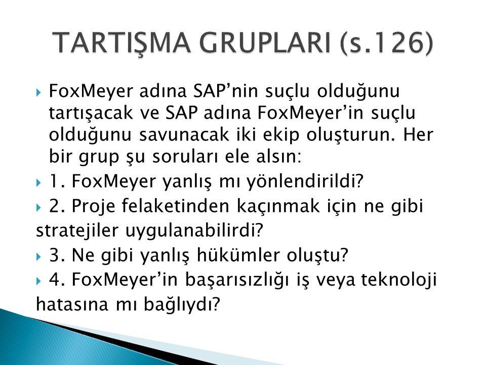  FoxMeyer adına SAP'nin suçlu olduğunu tartışacak ve SAP adına FoxMeyer'in suçlu olduğunu savunacak iki ekip oluşturun. Her bir grup şu soruları ele