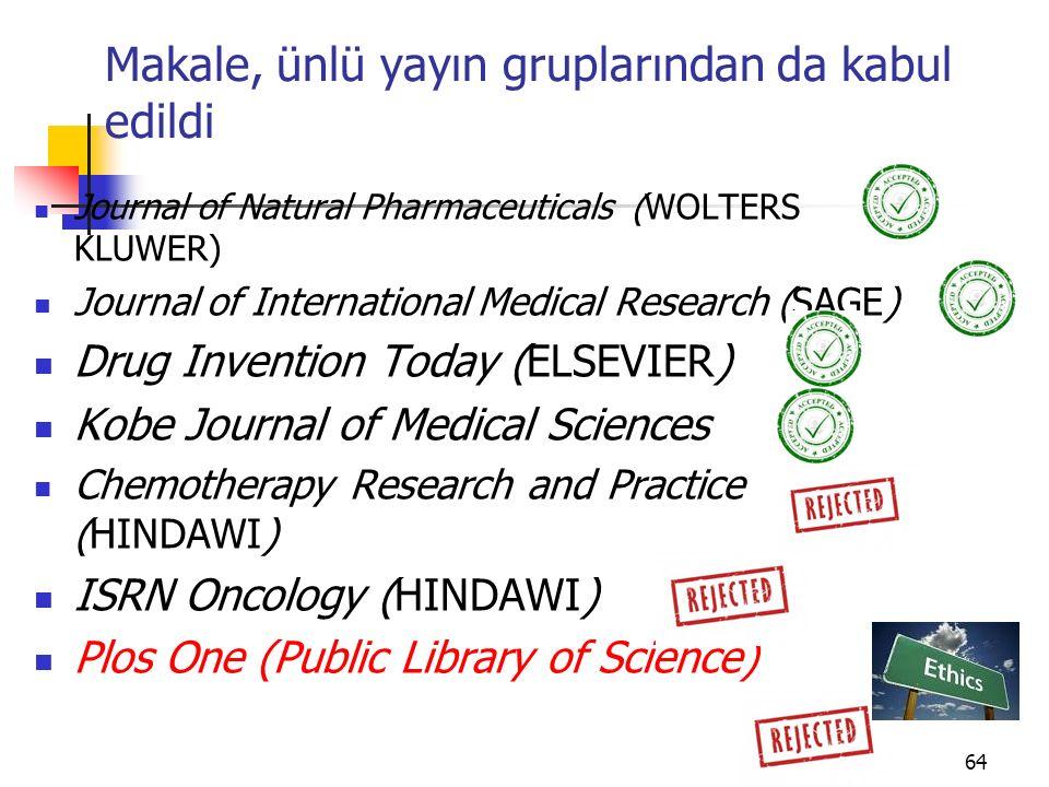 Makale, ünlü yayın gruplarından da kabul edildi Journal of Natural Pharmaceuticals (WOLTERS KLUWER) Journal of International Medical Research (SAGE) D