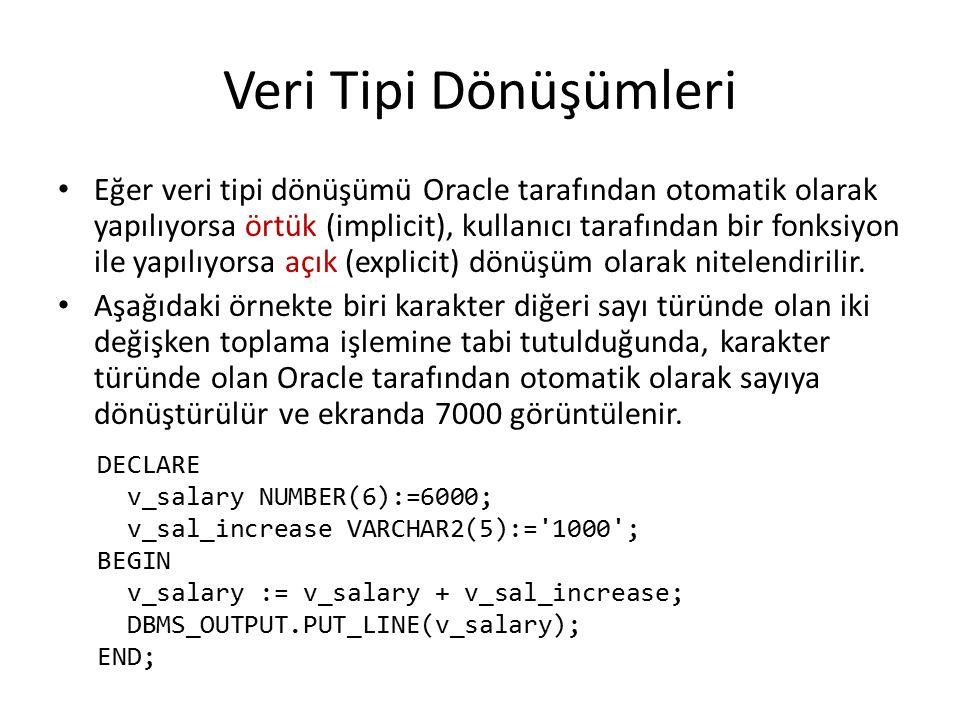 Veri Tipi Dönüşümleri Eğer veri tipi dönüşümü Oracle tarafından otomatik olarak yapılıyorsa örtük (implicit), kullanıcı tarafından bir fonksiyon ile yapılıyorsa açık (explicit) dönüşüm olarak nitelendirilir.