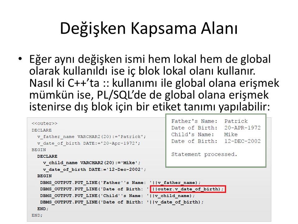 Değişken Kapsama Alanı Eğer aynı değişken ismi hem lokal hem de global olarak kullanıldı ise iç blok lokal olanı kullanır.