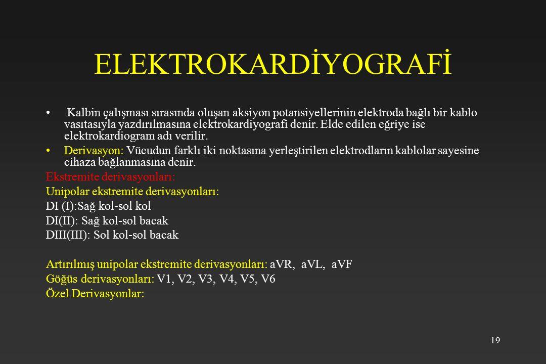 19 ELEKTROKARDİYOGRAFİ Kalbin çalışması sırasında oluşan aksiyon potansiyellerinin elektroda bağlı bir kablo vasıtasıyla yazdırılmasına elektrokardiyo