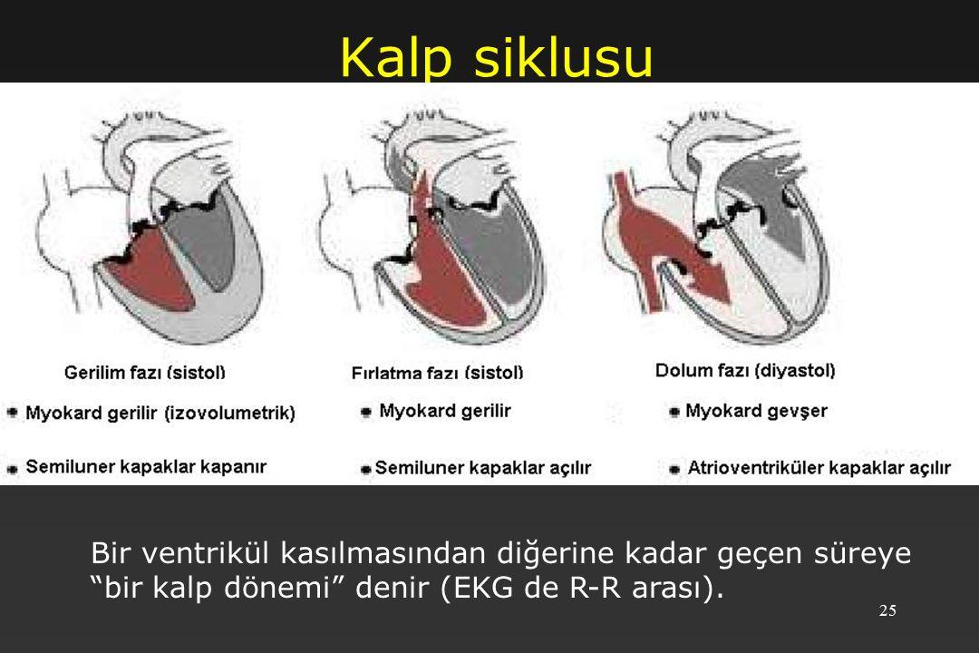 25 Kalp siklusu Bir ventrikül kasılmasından diğerine kadar geçen süreye bir kalp dönemi denir (EKG de R-R arası).