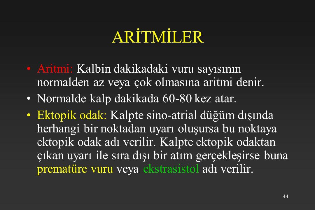 44 ARİTMİLER Aritmi: Kalbin dakikadaki vuru sayısının normalden az veya çok olmasına aritmi denir.