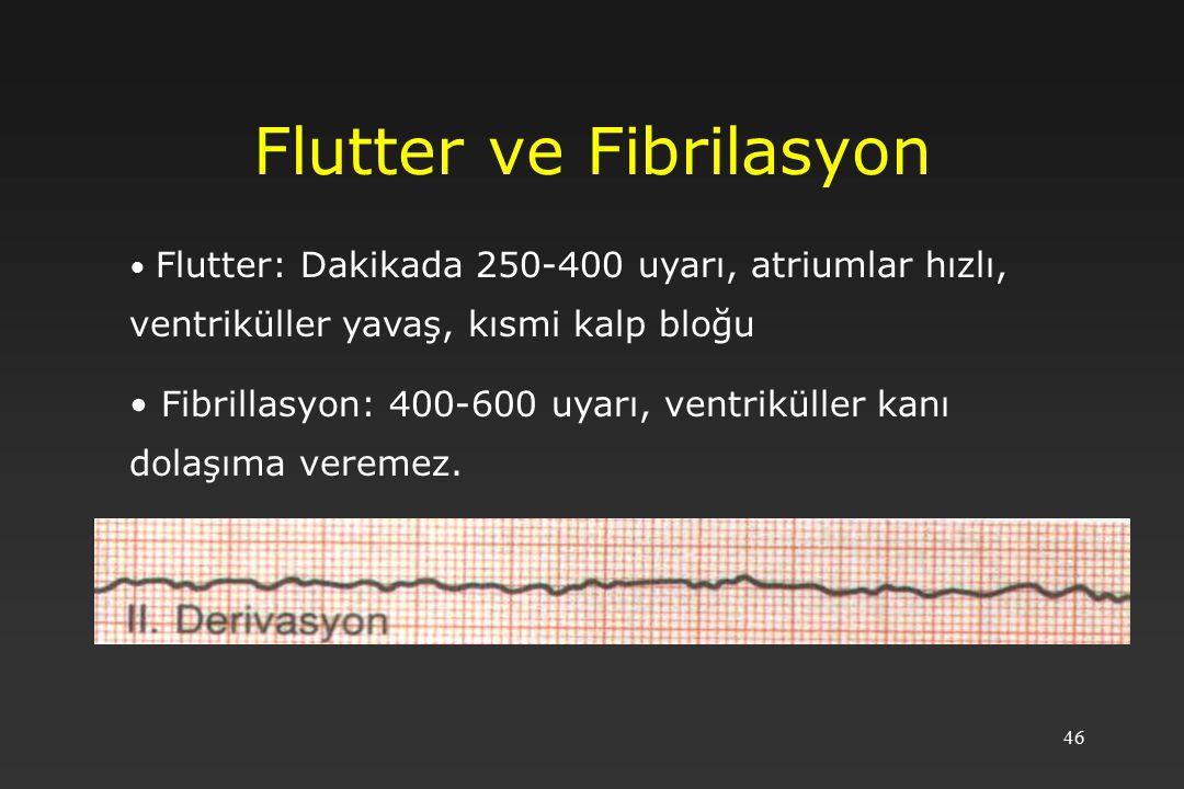 46 Flutter ve Fibrilasyon Flutter: Dakikada 250-400 uyarı, atriumlar hızlı, ventriküller yavaş, kısmi kalp bloğu Fibrillasyon: 400-600 uyarı, ventriküller kanı dolaşıma veremez.
