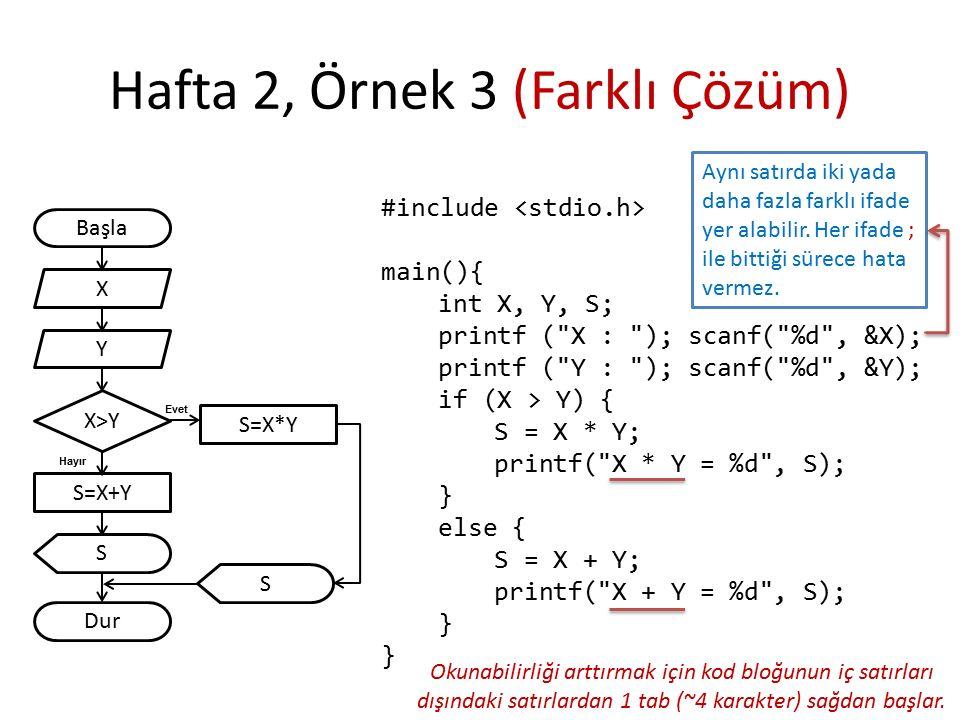 Hafta 2, Örnek 3 (Farklı Çözüm) Başla S Dur X Y S=X+Y X>Y Hayır Evet S=X*Y #include main(){ int X, Y, S; printf ( X : ); scanf( %d , &X); printf ( Y : ); scanf( %d , &Y); if (X > Y) { S = X * Y; printf( X * Y = %d , S); } else { S = X + Y; printf( X + Y = %d , S); } S Aynı satırda iki yada daha fazla farklı ifade yer alabilir.