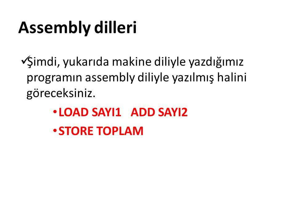Şimdi, yukarıda makine diliyle yazdığımız programın assembly diliyle yazılmış halini göreceksiniz.