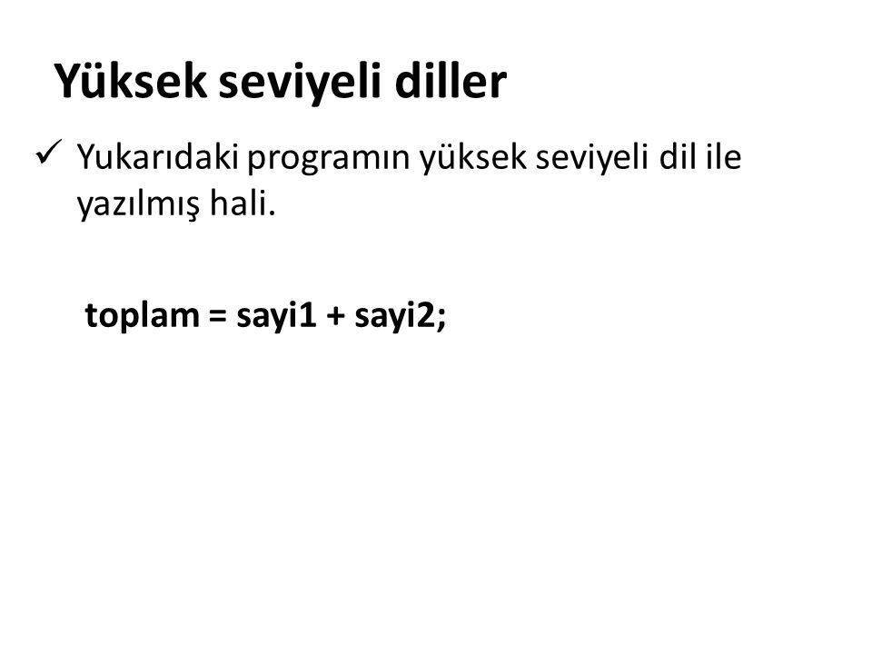 Yukarıdaki programın yüksek seviyeli dil ile yazılmış hali.