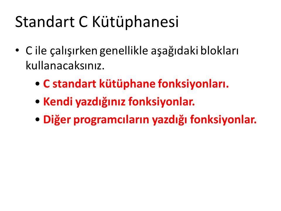 Standart C Kütüphanesi C ile çalışırken genellikle aşağıdaki blokları kullanacaksınız.
