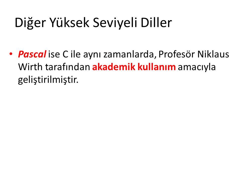 Pascal ise C ile aynı zamanlarda, Profesör Niklaus Wirth tarafından akademik kullanım amacıyla geliştirilmiştir.