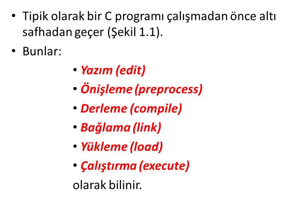 Tipik olarak bir C programı çalışmadan önce altı safhadan geçer (Şekil 1.1).