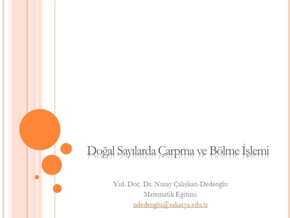 Yrd. Doç. Dr. Nuray Çalışkan-Dedeoğlu Matematik Eğitimi ndedeoglu@sakarya.edu.tr