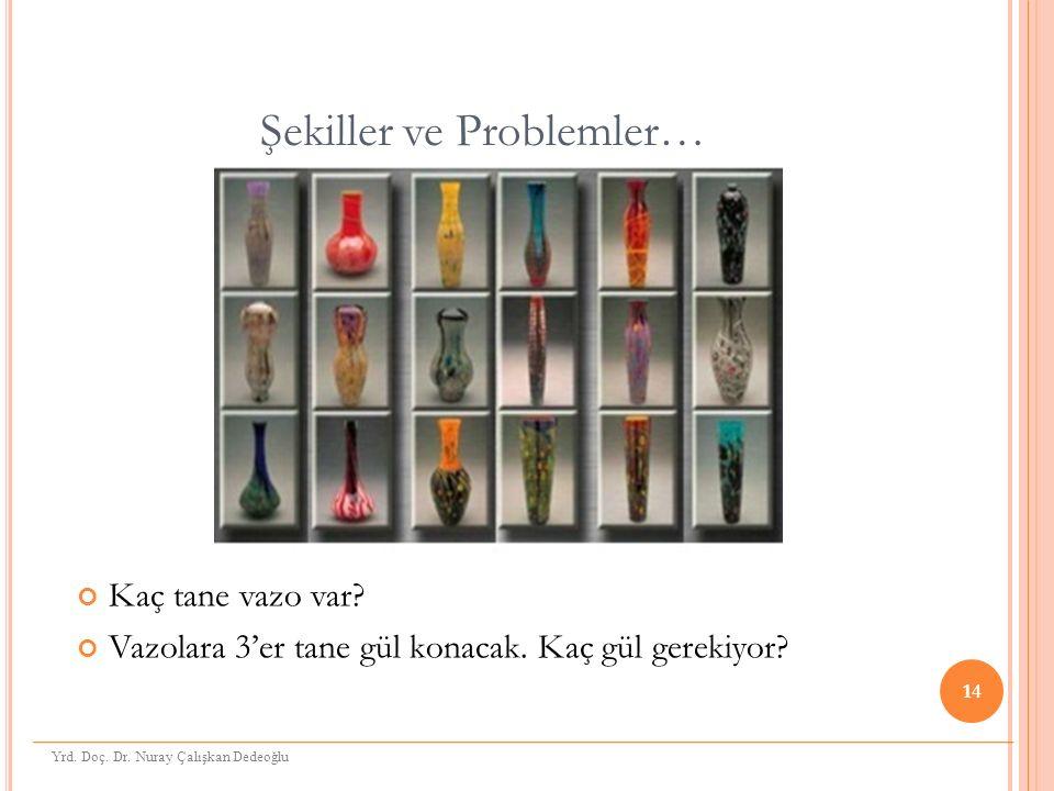 Şekiller ve Problemler… Kaç tane vazo var. Vazolara 3'er tane gül konacak.