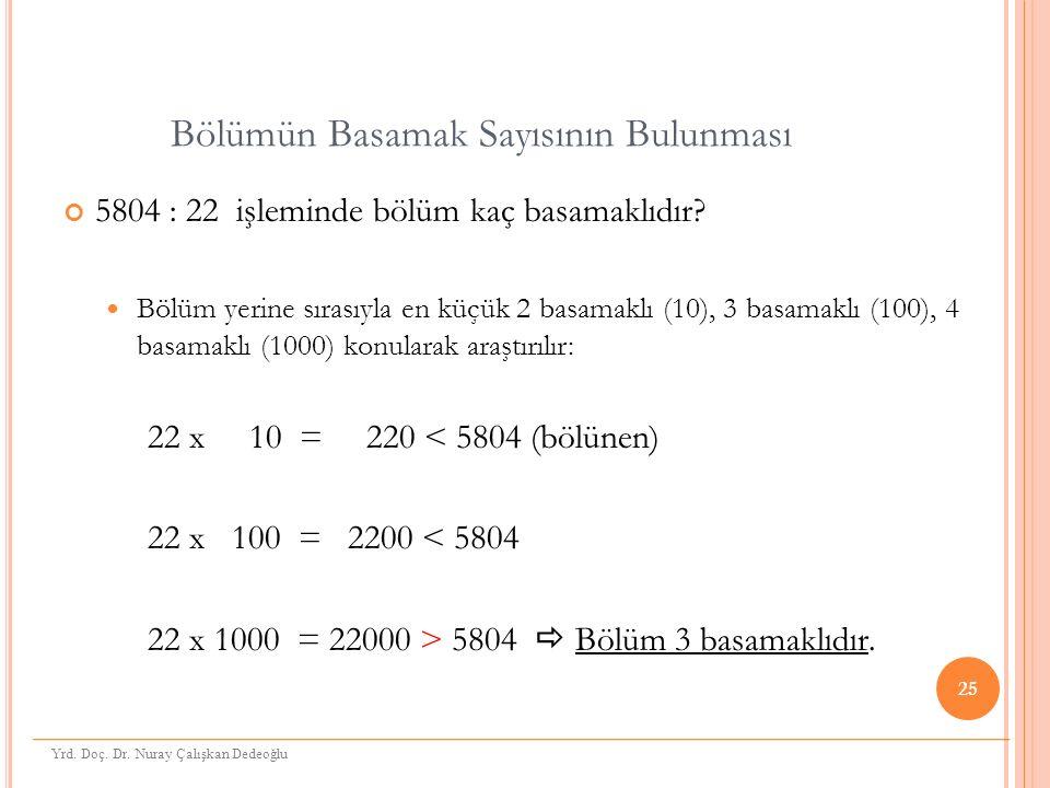 Bölümün Basamak Sayısının Bulunması 5804 : 22 işleminde bölüm kaç basamaklıdır.