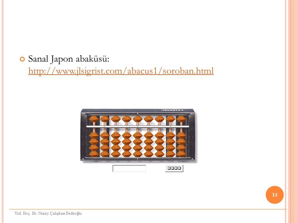 Sanal Japon abaküsü: http://www.jlsigrist.com/abacus1/soroban.html http://www.jlsigrist.com/abacus1/soroban.html 14 Yrd. Doç. Dr. Nuray Çalışkan Dedeo