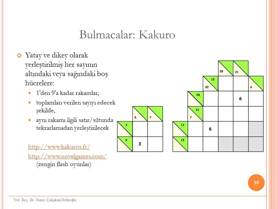 Bulmacalar: Kakuro Yatay ve dikey olarak yerleştirilmiş her sayının altındaki veya sağındaki boş hücrelere: 1'den 9'a kadar rakamlar, toplamları veril
