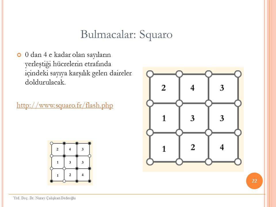 Bulmacalar: Squaro 0 dan 4 e kadar olan sayıların yerleştiği hücrelerin etrafında içindeki sayıya karşılık gelen daireler doldurulacak. http://www.squ