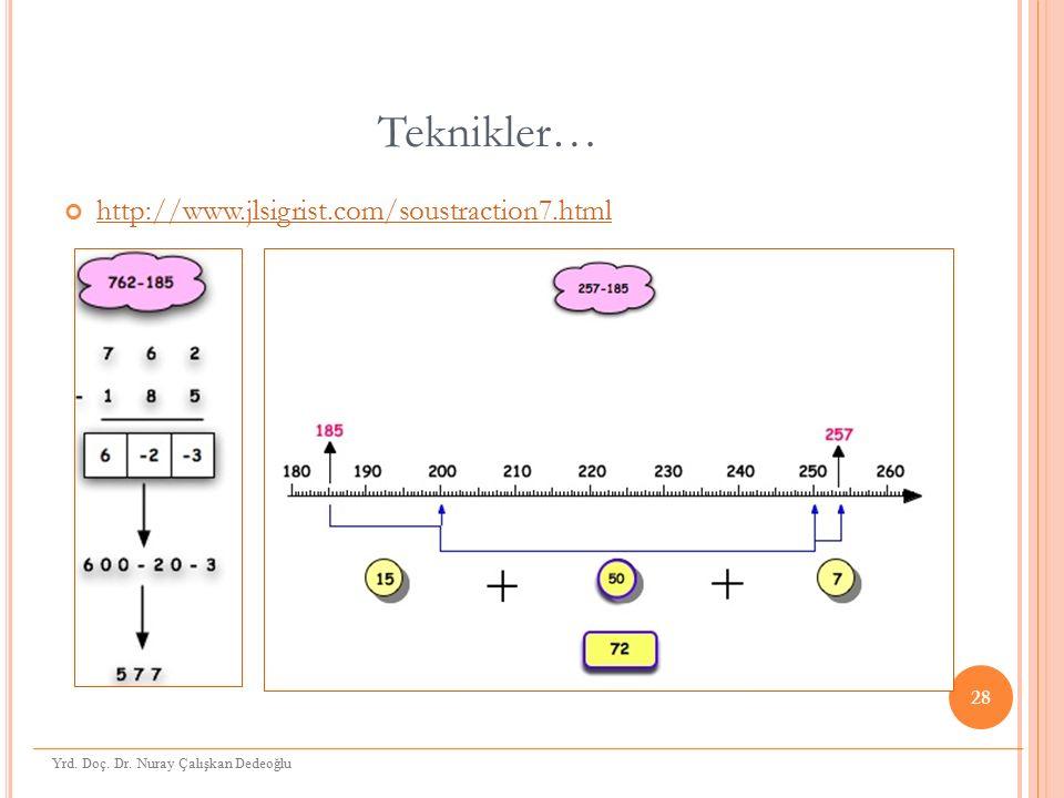Teknikler… http://www.jlsigrist.com/soustraction7.html 28 Yrd. Doç. Dr. Nuray Çalışkan Dedeoğlu