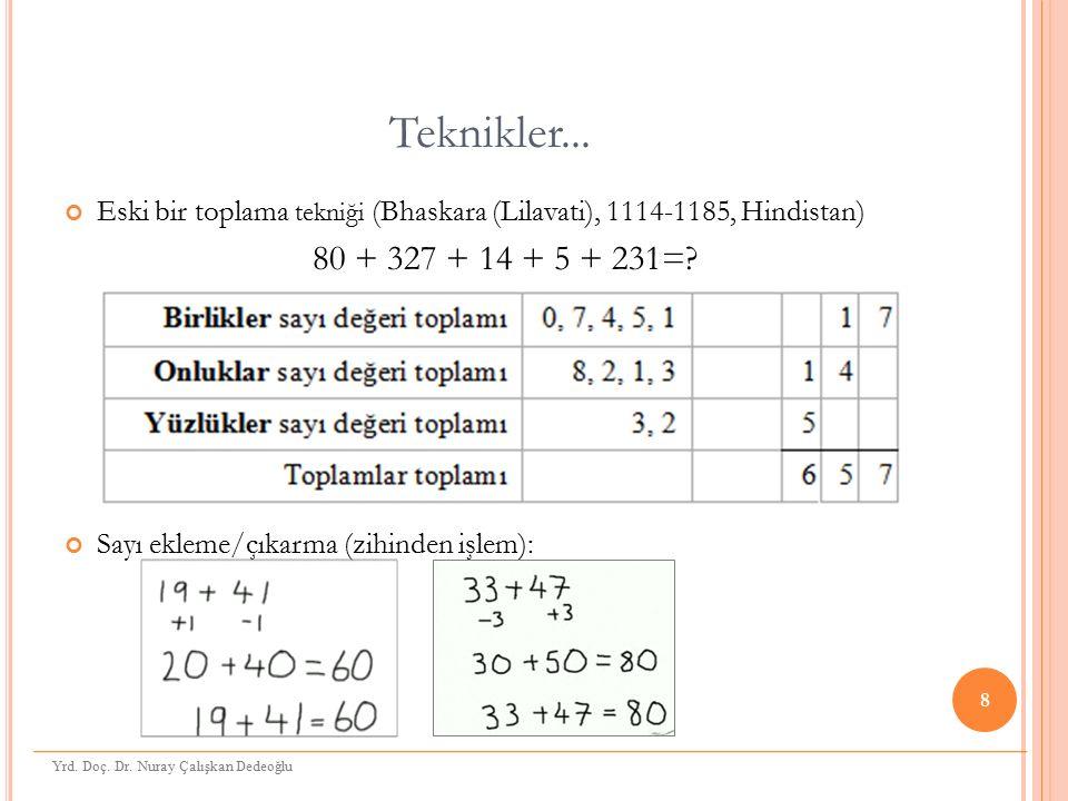 Teknikler... Eski bir toplama tekniği (Bhaskara (Lilavati), 1114-1185, Hindistan) 80 + 327 + 14 + 5 + 231=? Sayı ekleme/çıkarma (zihinden işlem): 8 Yr