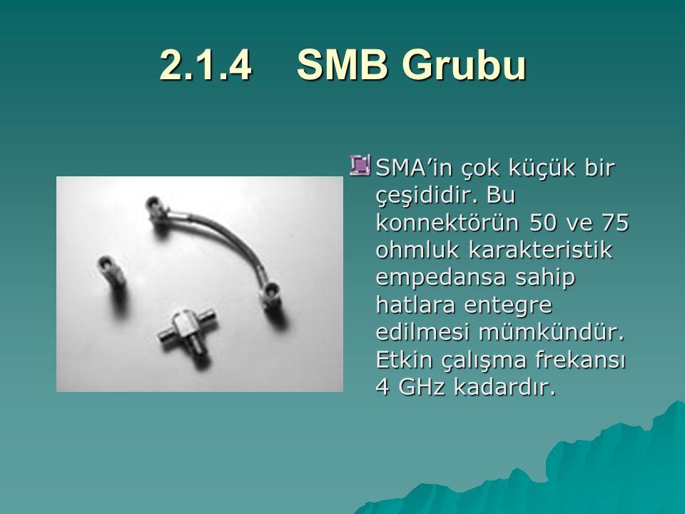2.1.4SMB Grubu SMA'in çok küçük bir çeşididir. Bu konnektörün 50 ve 75 ohmluk karakteristik empedansa sahip hatlara entegre edilmesi mümkündür. Etkin