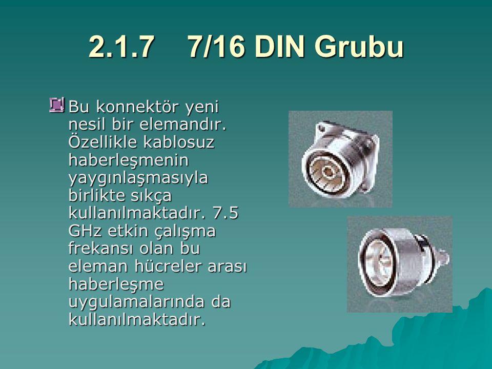 2.1.77/16 DIN Grubu Bu konnektör yeni nesil bir elemandır. Özellikle kablosuz haberleşmenin yaygınlaşmasıyla birlikte sıkça kullanılmaktadır. 7.5 GHz
