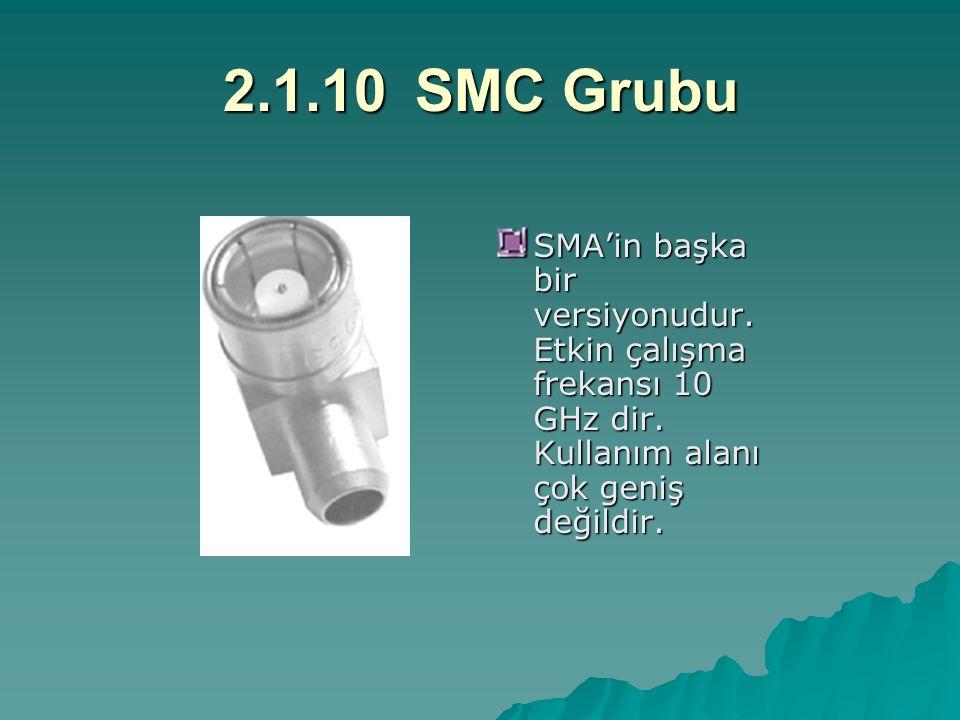 2.1.10SMC Grubu SMA'in başka bir versiyonudur. Etkin çalışma frekansı 10 GHz dir. Kullanım alanı çok geniş değildir.
