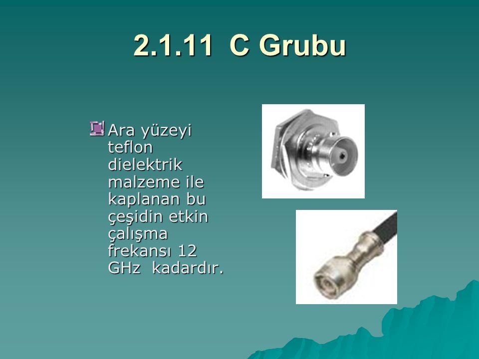 2.1.11C Grubu Ara yüzeyi teflon dielektrik malzeme ile kaplanan bu çeşidin etkin çalışma frekansı 12 GHz kadardır.