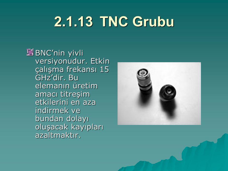 2.1.13TNC Grubu BNC'nin yivli versiyonudur. Etkin çalışma frekansı 15 GHz'dir. Bu elemanın üretim amacı titreşim etkilerini en aza indirmek ve bundan