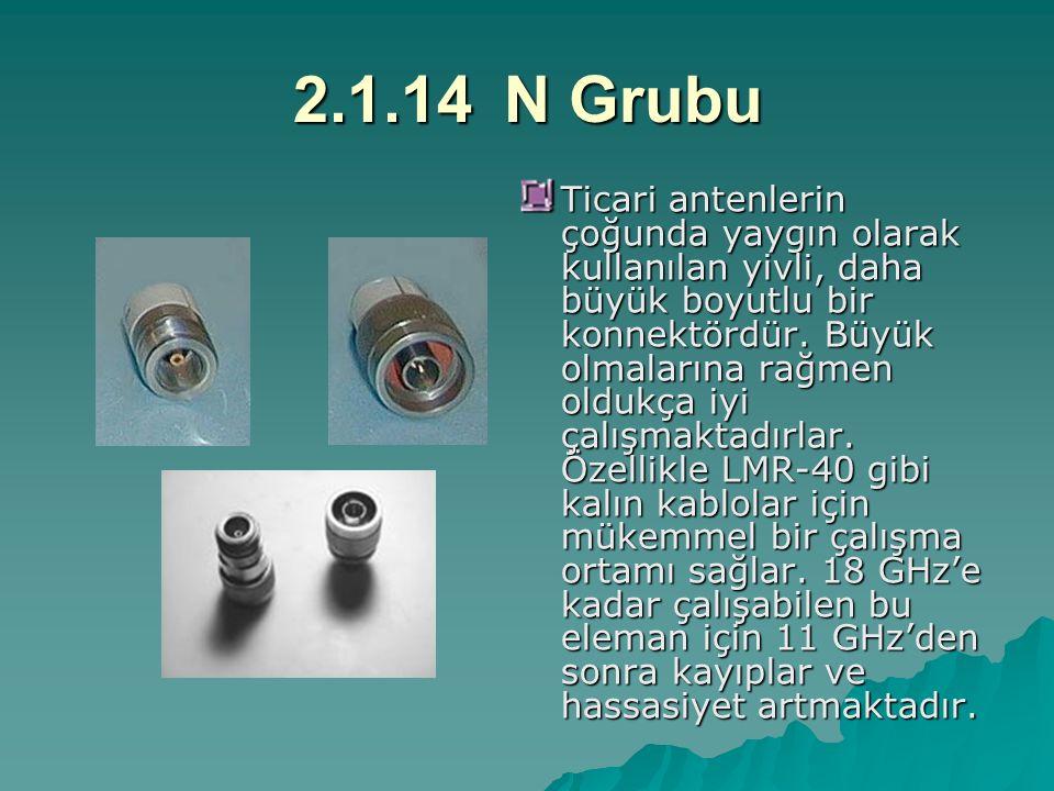 2.1.14N Grubu Ticari antenlerin çoğunda yaygın olarak kullanılan yivli, daha büyük boyutlu bir konnektördür. Büyük olmalarına rağmen oldukça iyi çalış
