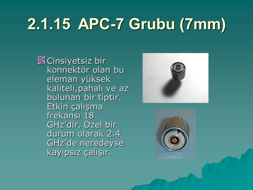 2.1.15APC-7 Grubu (7mm) Cinsiyetsiz bir konnektör olan bu eleman yüksek kaliteli,pahalı ve az bulunan bir tiptir. Etkin çalışma frekansı 18 GHz'dir. Ö
