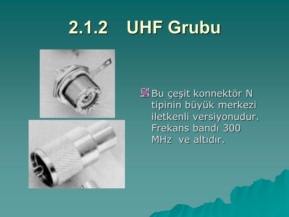 2.1.2UHF Grubu Bu çeşit konnektör N tipinin büyük merkezi iletkenli versiyonudur. Frekans bandı 300 MHz ve altıdır.