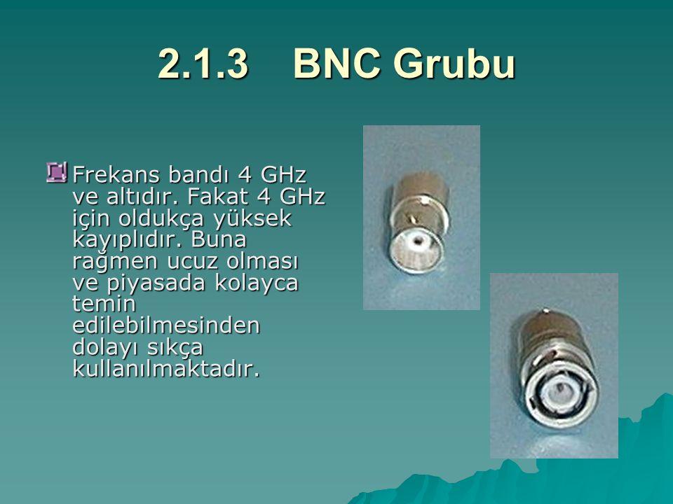 2.1.3BNC Grubu Frekans bandı 4 GHz ve altıdır. Fakat 4 GHz için oldukça yüksek kayıplıdır. Buna rağmen ucuz olması ve piyasada kolayca temin edilebilm