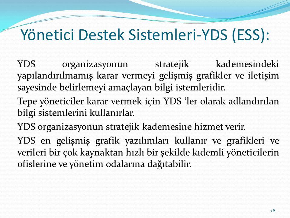 Yönetici Destek Sistemleri-YDS (ESS): YDS organizasyonun stratejik kademesindeki yapılandırılmamış karar vermeyi gelişmiş grafikler ve iletişim sayesi