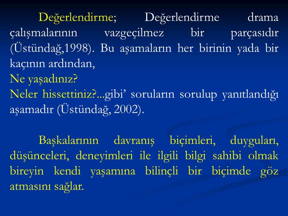 Değerlendirme; Değerlendirme drama çalışmalarının vazgeçilmez bir parçasıdır (Üstündağ,1998).