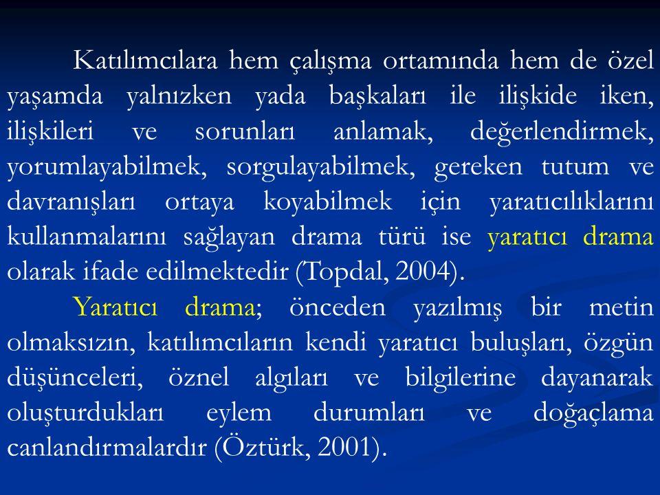 Katılımcılara hem çalışma ortamında hem de özel yaşamda yalnızken yada başkaları ile ilişkide iken, ilişkileri ve sorunları anlamak, değerlendirmek, yorumlayabilmek, sorgulayabilmek, gereken tutum ve davranışları ortaya koyabilmek için yaratıcılıklarını kullanmalarını sağlayan drama türü ise yaratıcı drama olarak ifade edilmektedir (Topdal, 2004).