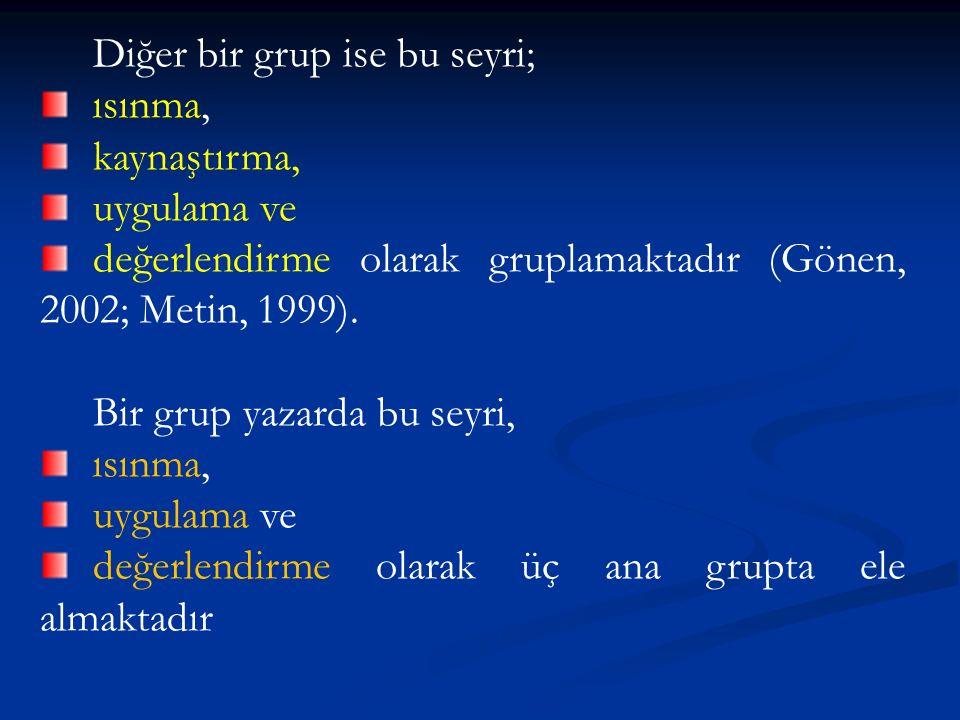 Diğer bir grup ise bu seyri; ısınma, kaynaştırma, uygulama ve değerlendirme olarak gruplamaktadır (Gönen, 2002; Metin, 1999).